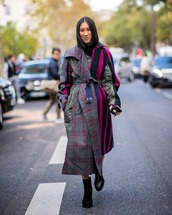 coat,checkered,stripes,asymmetrical,ankle boots,black boots,turtleneck