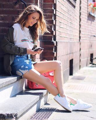 t-shirt bag red bag skirt tumblr white t-shirt denim skirt denim jacket army green jacket mini skirt shoes
