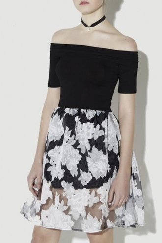 dress off the shoulder floral black and white trendy girly cute summer spring black flowy beautifulhalo