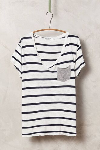 t-shirt basic top basics stripes black and white striped top striped shirt pocket t-shirt