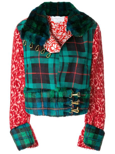 jacket biker jacket women cotton wool green pattern