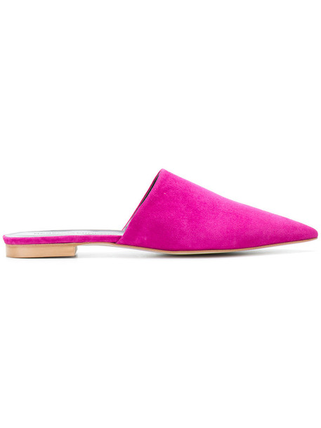 women classic mules leather suede purple pink shoes