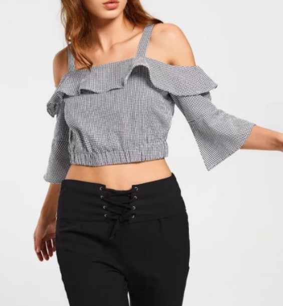 blouse girly frilly crop tops crop cropped cut-out off the shoulder black