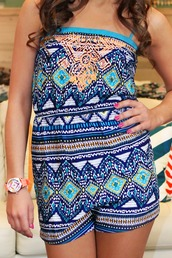 romper,tribal pattern,multicolor,multi,blue,orange,royal,turquoise,turquoise romper,jewels