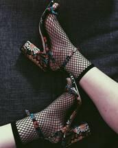 socks,fishnet socks,tumblr,sandals,sandal heels,high heel sandals,printed shorts,floral,floral shoes,ankle strap heels