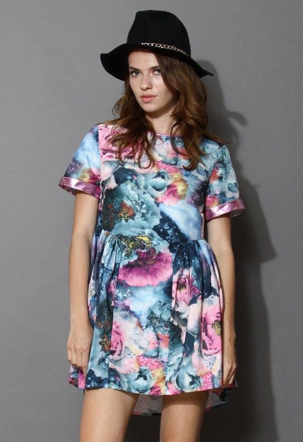 chicwish blooming galaxy print mini dress