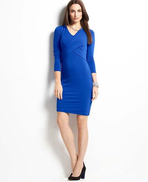 Crepe Crossover 3/4 Sleeve Dress   Ann Taylor