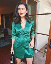dress,button up,silk dress,mini dress,v neck dress,chain necklace,handbag
