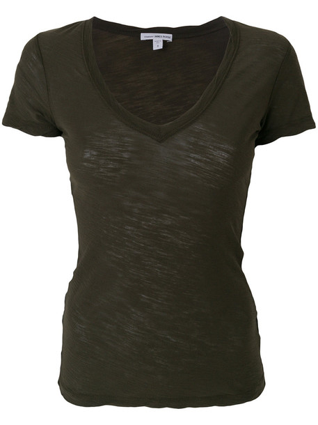 James Perse - V-neck fitted T-shirt - women - Cotton - 1, Green, Cotton