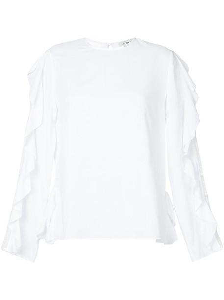 blouse ruffle women white cotton top