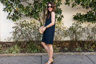 dallas wardrobe // fashion & lifestyle blog // dallas - fashion & lifestyle blog blogger dress shoes bag sunglasses sandals navy dress spring outfits