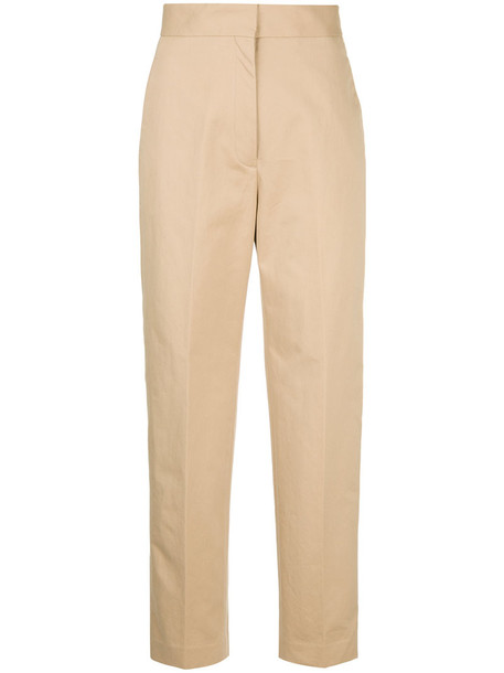 H Beauty & Youth cropped high women cotton brown pants