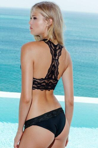 swimwear bikini black cheeky full coverage luxury racerback womens sauvage bikiniluxe