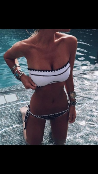 swimwear black and white white black bikini bandeau bandeau bikini white and black bikini black and white bikini tie bikini bikini top bikini bottoms strapless summer blue hot cute