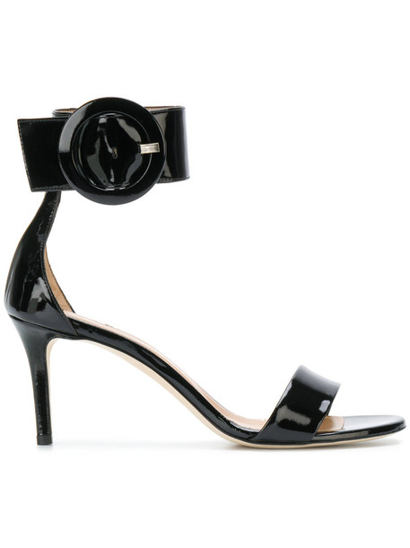Marc Ellis oversized women sandals leather black shoes