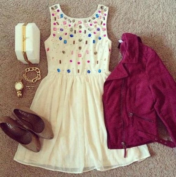 dress jacket pink white cute girly lovely summer weheartit party blue high heels skater bracelet silver pretty prom dress clothes shoes jewels bag clutch studs white dress leather jacket jewel colors cool sparkle sparkles outfit idea outfits flats maroon brown accessories tumblr cute dress and matching accessories