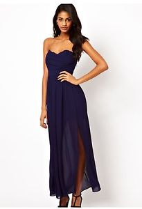 TFNC Strapless Navy Maxi Dress With Thigh Split Size XS 8 NEW   eBay