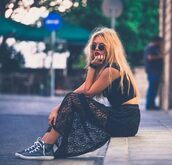 skirt,grunge,lace,lace skirt,black,soft grunge,sunglasses,shoes,maxi skirt,girly,lovely,style,blonde hair,tumblr outfit,clothes,sneakers,sunnies,hippie chic,top