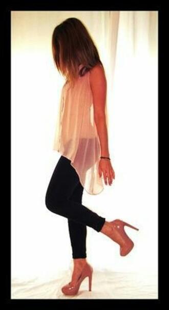 blouse sheer blouse sheer top sheer tank top high low shirt button up button up blouse