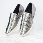 shoes,sneakers,slip-ons,fashion,metallic,snake print,pewter,qupid