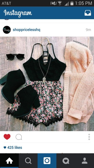 romper black chunky boots cream sweater black and floral romper sweater shorts shoes pants top