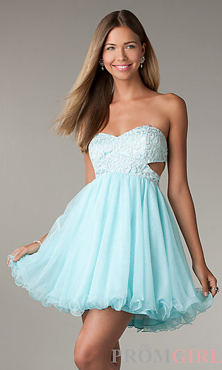Short prom dress with cut out sides, la glo party dress