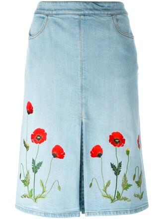 skirt denim skirt denim embroidered blue