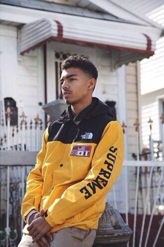 jacket north face supreme menswear yellow windbreaker mens jacket yellow jacket