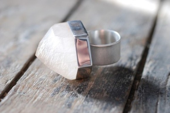 ring silver quarts white jewels quartz
