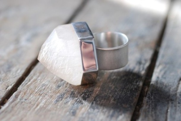 ring silver quarts white jewels quartz jewels