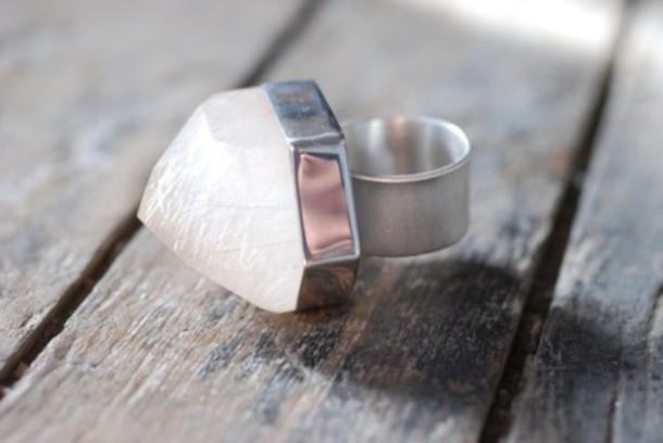 ring silver quarts white jewels quartz