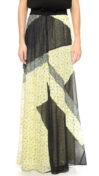 skirt patchwork print yellow