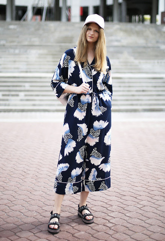 white rabbit dreams blogger jumpsuit shoes cap sandals flatform sandals summer outfits summer hat