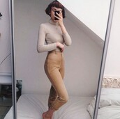 pants,cord,corded,vintage,thrft,cream,nude,lines,jeans,high waisted,old,indie,grunge,levi's,cute,pretty,clothes,outfit,suede trousers,american vintage