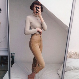 pants cord corded vintage thrft cream nude lines jeans high waisted old indie grunge levi's cute pretty clothes outfit suede trousers american vintage