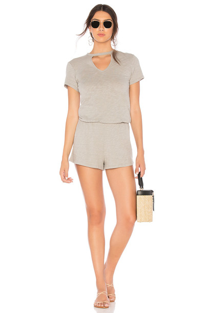 Bobi Slubbed Jersey Romper in gray