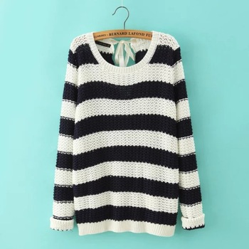 2015 autumn winter european new style gagaopt women fashion o neck belt black white striped knit pullover sweater LJ8129-in Pullovers from Women's Clothing & Accessories on Aliexpress.com   Alibaba Group