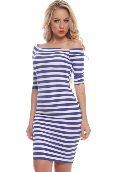 Off shoulder striped pencil dress