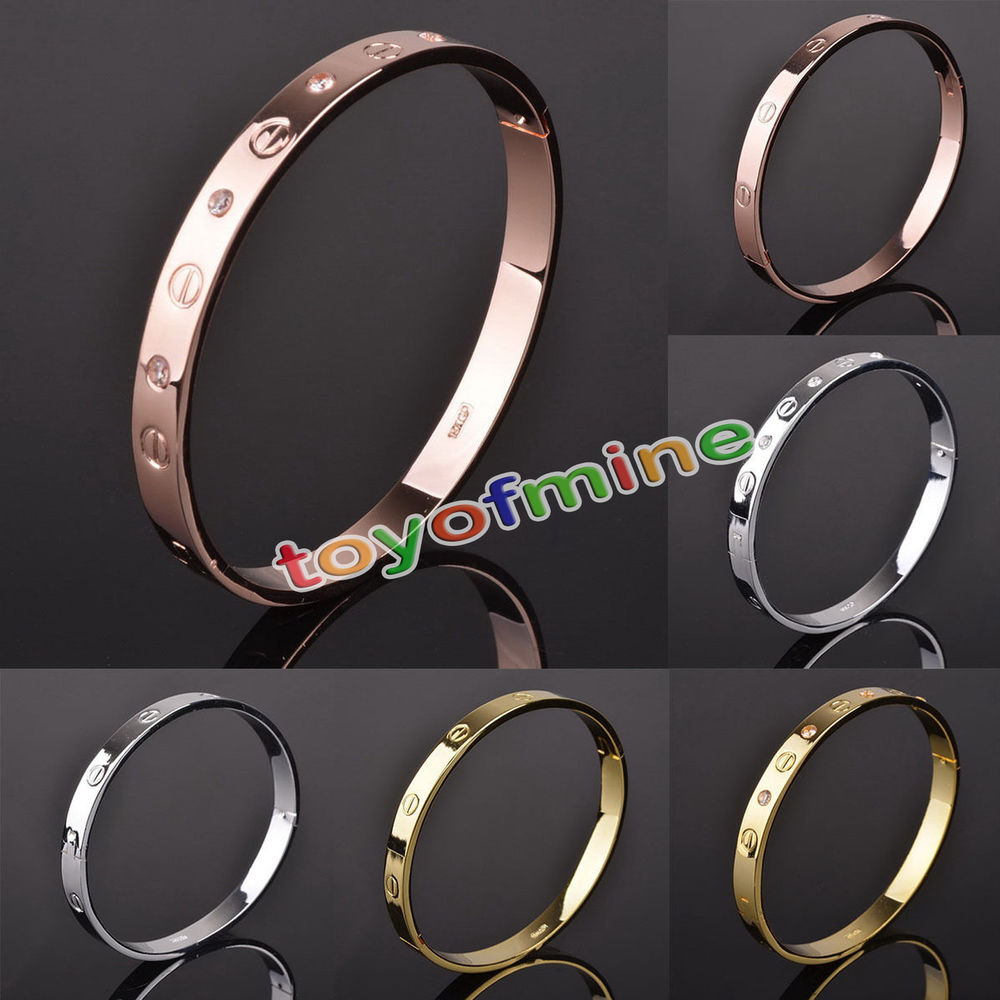 Women's Stainless Steel Screw Head Love Cuff Bangle Bracelet Wedding Party