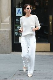 pants,flats,sweater,lily aldridge,white,all white everything,ballet flats,shoes,fall outfits