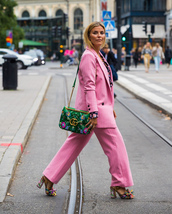 pants,stockholm fashion week,streetstyle,pink pants,power suit,blazer,pink blazer,two piece pantsuits,bag,gucci,floral,floral bags,sandals,sandal heels,high heel sandals