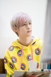 sweater,mark tuan,got7,kpop,donut,cute,K-pop,hoodie,mens hoodie,yellow,yellow sweater,korean fashion,amazon