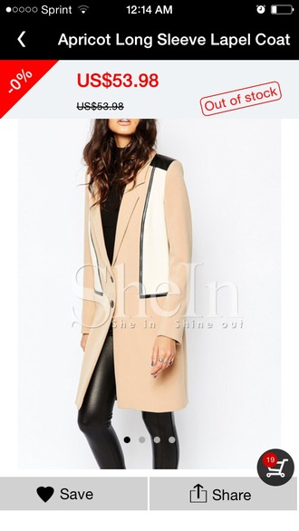 jacket coat trench coat zip black white tan apricot