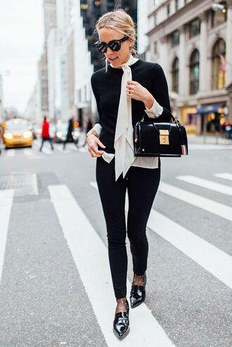 shoes black blazer white blouse black trousers black and gold handbag black loafers blogger