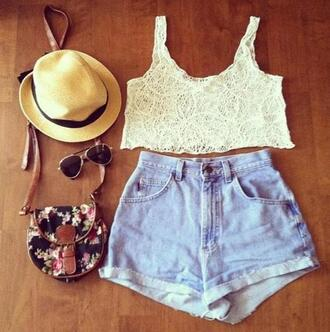 shirt sunny summer sun hat sunhat denim light denim hot pants shorts flowers flowered floral vintage glasses pilot ray ban sunglasses bag white pretty tank top t-shirt crop tops lace blouse floral bag white lace croptop light washed shorts high waisted shorts brown hat high waisted