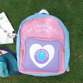 bag pink blue fashion trendy cool purple lilac back to school backpack summer heart kawaii cute boogzel