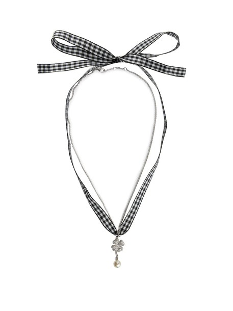 necklace gingham black jewels