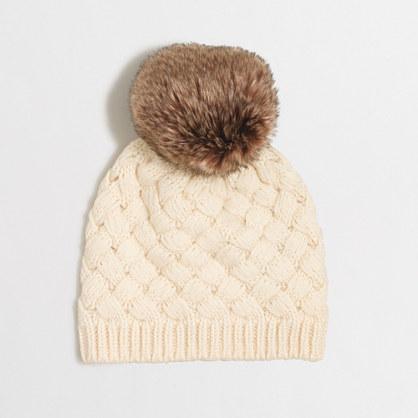 Factory knit hat with faux-fur pom-pom