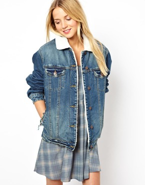 ASOS | ASOS Denim Jacket in Vintage Wash with Borg Lining and Collar at ASOS