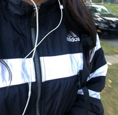 jacket,windbreaker,adidas,adidas windbreaker,adidas 3 stripes,adidas originals,blue adidas windbreaker,the originals,coat,black and white